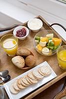 Tray of breakfast foods
