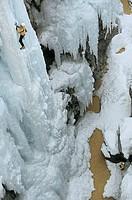 An iceclimber on the mountain
