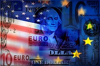 Close-up of Euro and American dollar bill