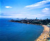 Aerial view of beach, Qingdao Beach, Shandong Province, China