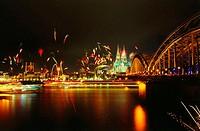 Fireworks near bridge at night