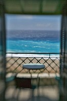 balconies books beach blue surf chair quay spray Greece impression coalfish landscape nature ocean sand sea table tergrass look view waters wave white