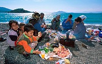 Family enjoying picnic on beach