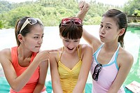 View of playful young women