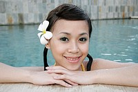 Portrait of a teenage girl in swimming pool