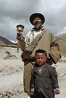 View of a father and son standing