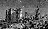 Jean-Dominique Cassini c1670-1756 Italian-born French astronomer  Headpiece from his tables ´Astronomiques du Soleil de la Lune´ Paris 1740 showing te...