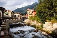 The village and the river. Ponte di Legno. Lombardia-Valcamonica. Italy.