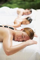 Woman relaxing at a spa