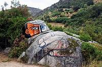 Painted, rock, near, Orgosolo, Sardinia, Italy,graffiti,