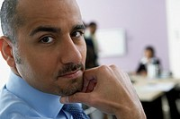 Close up of Middle Eastern businessman
