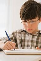 Greek boy doing homework