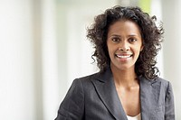 African businesswoman smiling