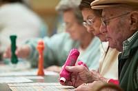 Senior people playing bingo