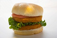 Double chicken burger with tomato and lettuce