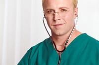Male nurse wearing stethoscope