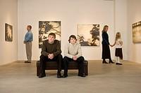 Family in art gallery