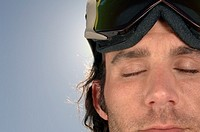 Man wearing ski goggles