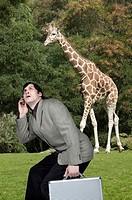 Businessman holding briefcase beneath giraffe