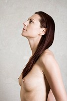 profile portrait of naked young woman