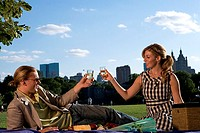 Young couple toasting with wineglasses in a park, Central Park, Manhattan, New York City, New York, USA