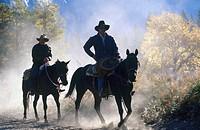 USA, California, cowboys on horseback