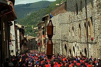 Group of men holding a St  Ubald statue, St  Ubaldo Day, Gubbio, Umbria, Italy