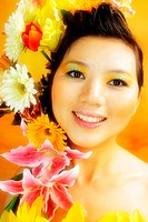 woman with flower decoration