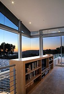 Rooftop living room with bookcase