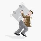 Businessman carrying a locker