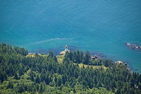 Aerial View of a Light House, West Coast Vancouver Island, British Columbia, Canada