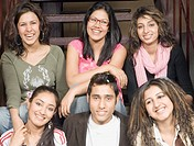 Group of college students sitting on a staircase