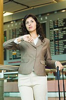Close-up of a businesswoman waiting at an airport lounge