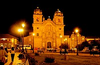 Church lit up at night, Iglesia La Compania De Jesus, Plaza_De_Armas, Cuzco, Cusco Region, Peru