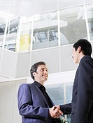 Two business men shaking hands low angle view