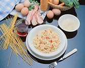 Spaghetti with carbonara sauce