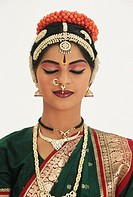 Bharatnatyam , woman performing classical dance of India , showing peace emotion MR579