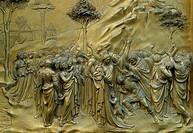 The Battistero gilded bronze doors, Florence, Italy