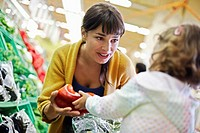 Woman Shopping with Daughter