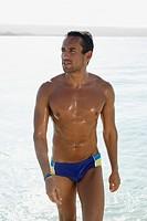 South American man at beach