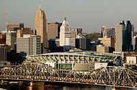 Sunset City View from Devou Park in Covington, Kentucky. Cincinnati. Ohio. USA.