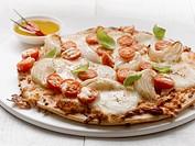 Tomato, mozzarella and onion pizza