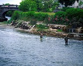 Galway City, Fishing At The Weir In Galway,
