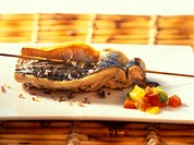 Barbecued mackerel fillet with pepper salsa