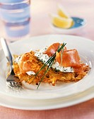 Potato rosti with herb soft cheese and smoked salmon