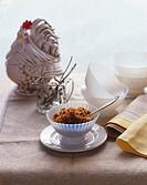 Espresso granita, model rooster in background