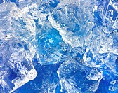 Crushed ice on blue background Not available for exclusive usages