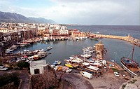 The city and its beautiful port viewed from the castle Kyrenia, Cyprus, Europe
