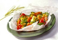 Vegetables cooked in papillote