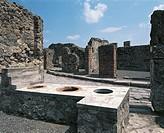 Tavern along Via dei Lupanari (the way of the brothels), Pompeii (Unesco World Heritage List, 1997), Campania, Italy. Roman civilisation, 1st century.